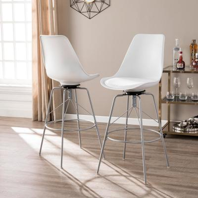 Sterling Heights 46 in. White Swivel Bar Stools (Set of 2)