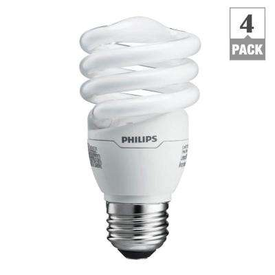 60W Equivalent Soft White (2700K) Spiral A-Line CFL Light Bulb (4-Pack)