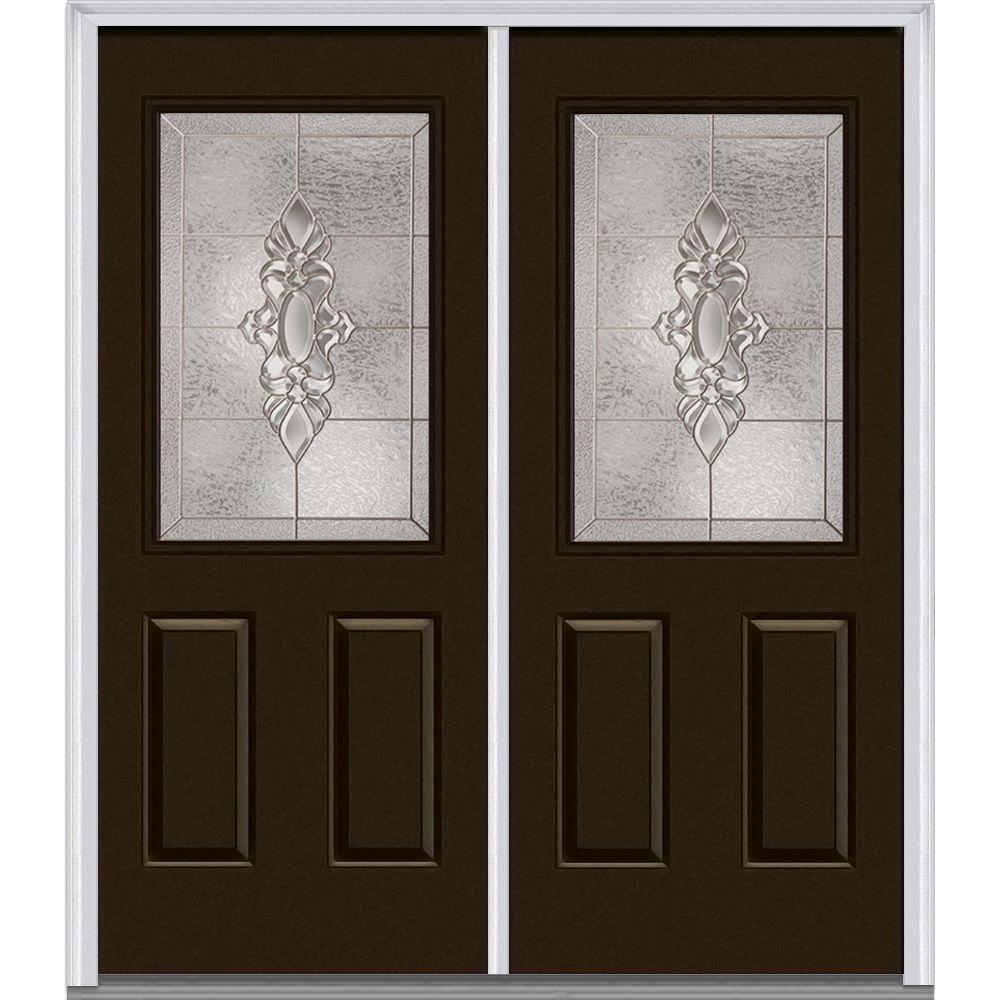 72 in. x 80 in. Heirloom Master Left-Hand Inswing 1/2-Lite Decorative Painted Fiberglass Smooth Prehung Front Door