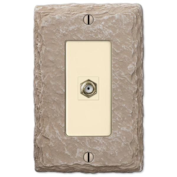 Faux Slate 1 Gang Coax Resin Wall Plate - Almond