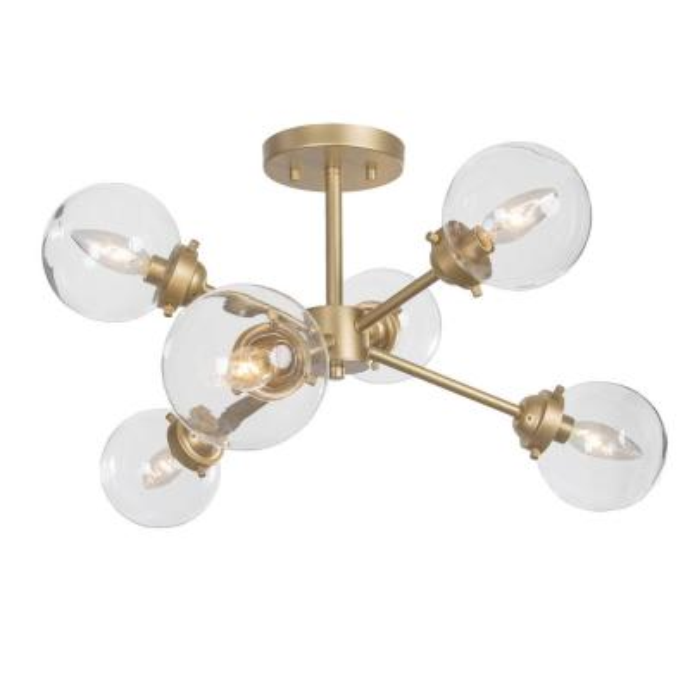 Cleo 25 in. 6-Light Gold Mid-Century Modern Semi-Flush Mount Lighting