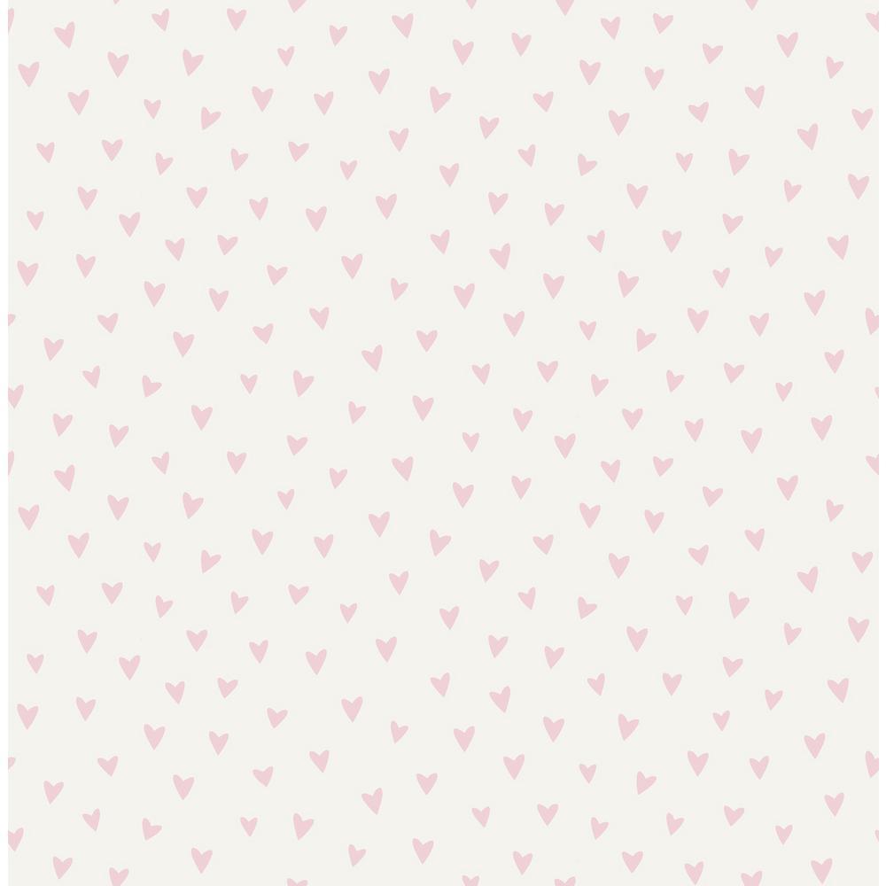 Kids Sparkle Heart White And Bubblegum Glitter Wallpaper
