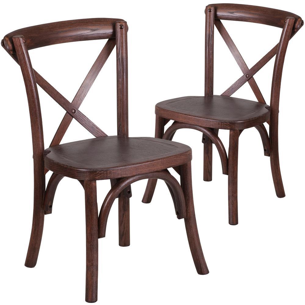 Mahogany Wood Cross Back Chairs (Set of 2)