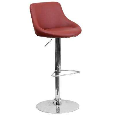 32 in. Adjustable Height Burgundy Cushioned Bar Stool
