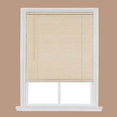 Cut-to-Size Ivory Cordless Room Darkening Privacy Slats Vinyl Blinds with 1 in. Slats 35 in. W x 64 in. L