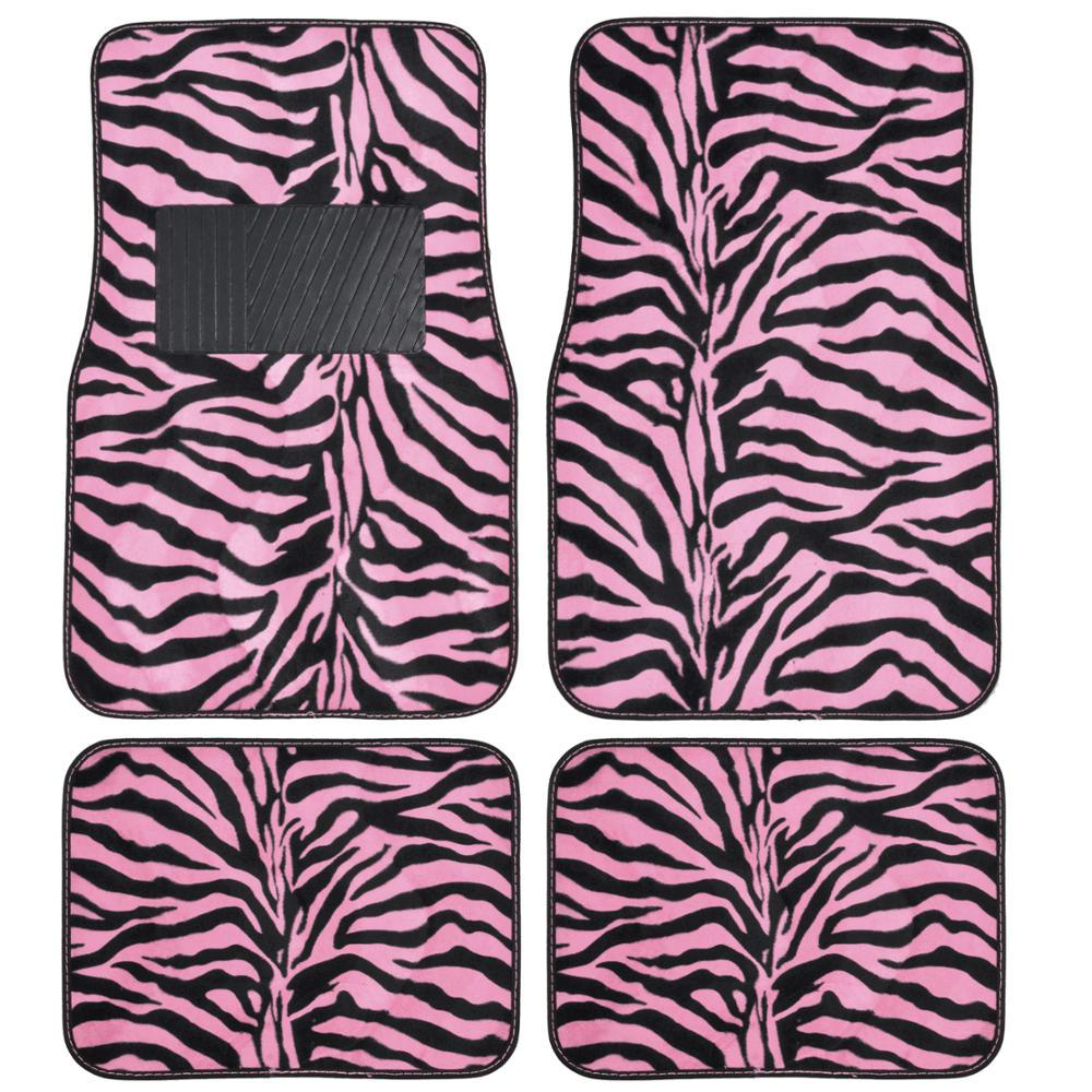 Bdk zebra print mt 902 pink animal print 4 piece carpet for Floor print