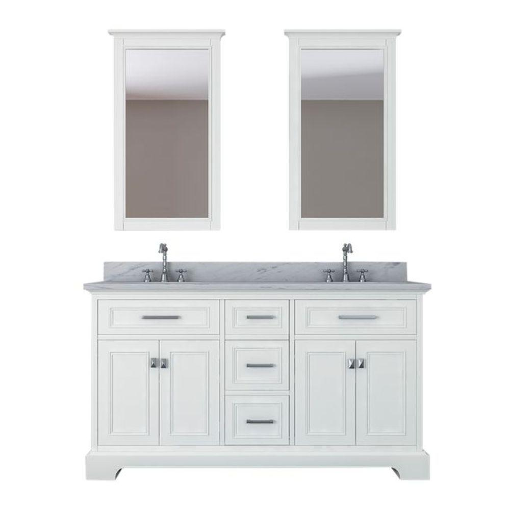 Alya Bath Yorkshire 61 in. W x 22 in. D Vanity in White with Marble Vanity Top in White with White Basin and Mirror