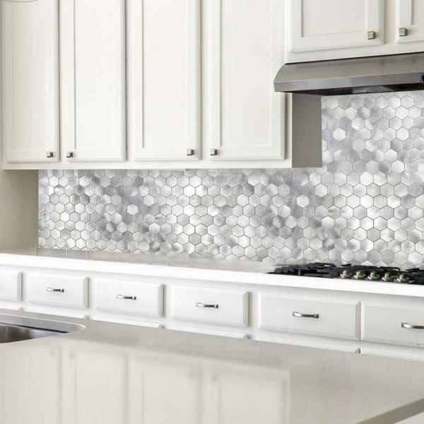 Dip Design Is Personal Dip Silver Hexagon 12 In X 12 In Metallic Mosaic Peel And Stick Tile Backsplash 10 Sq Ft Case Ksl St09 The Home Depot