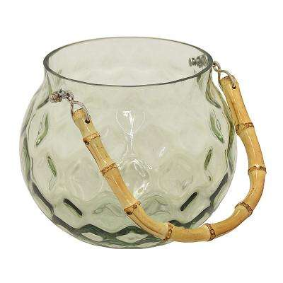 6.5 in. Glass Lantern with Bamboo Handle