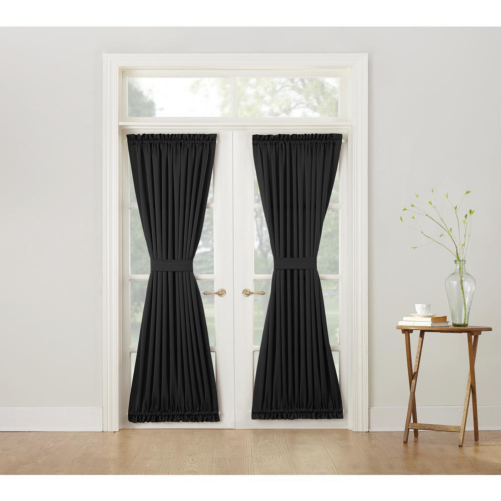 Sun Zero Semi-Opaque Gregory Black Room Darkening Door Panel Curtain & Sun Zero Semi-Opaque Gregory Black Room Darkening Door Panel Curtain ...