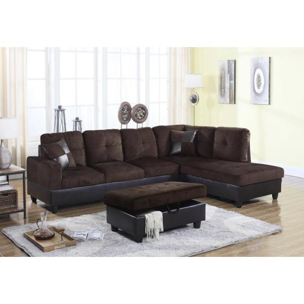Espresso Brown Right Chaise Sectional with Storage Ottoman SH114B