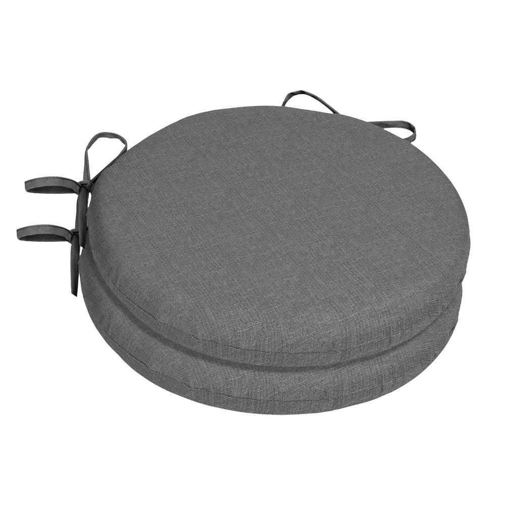 Home Decorators Collection Sunbrella Cast Slate Round Outdoor Seat Cushion  (2 Pack)