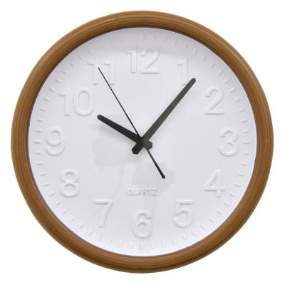 Wall Clock in Brown Polyurethane 14in L x 2in W x 14in H