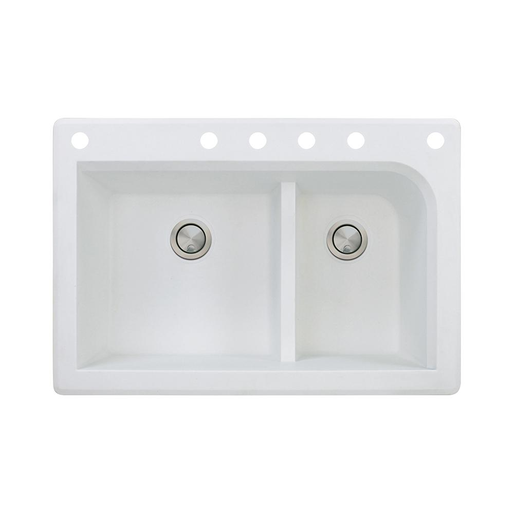 Transolid Aversa Drop-in Granite 33 in. 4-Hole Equal Double Bowl ...