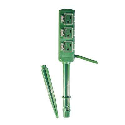 18 ft. 18/2 3-Outlet Outdoor Power Stake, Green