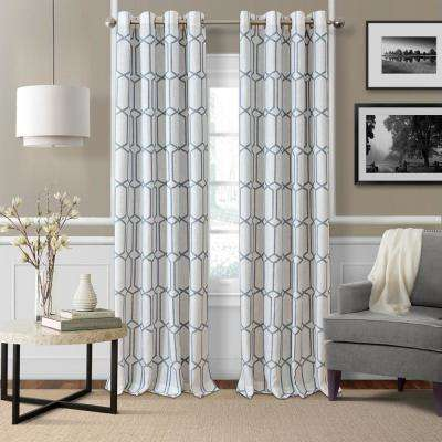 Kaiden Soft Blue Single Blackout Window Curtain Panel - 52 in. W x 84 in. L