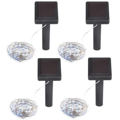 Outdoor 36 ft. Solar Micro LED String Light with 200 Platinum Cool White LEDs (4-Pack)