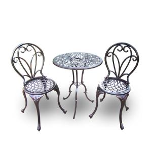Grace 3-Piece Cast Metal Bistro Set by