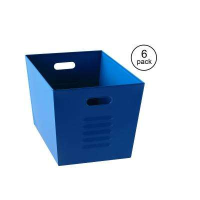 12 in. W x 11 in. H x 17 in. D Galvanized Steel Blue Utility Storage Bins (6-Pack)