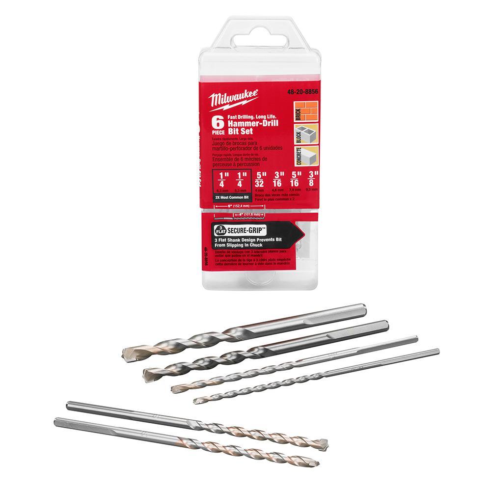 Carbide Hammer Drill Bit Set (6-Piece)
