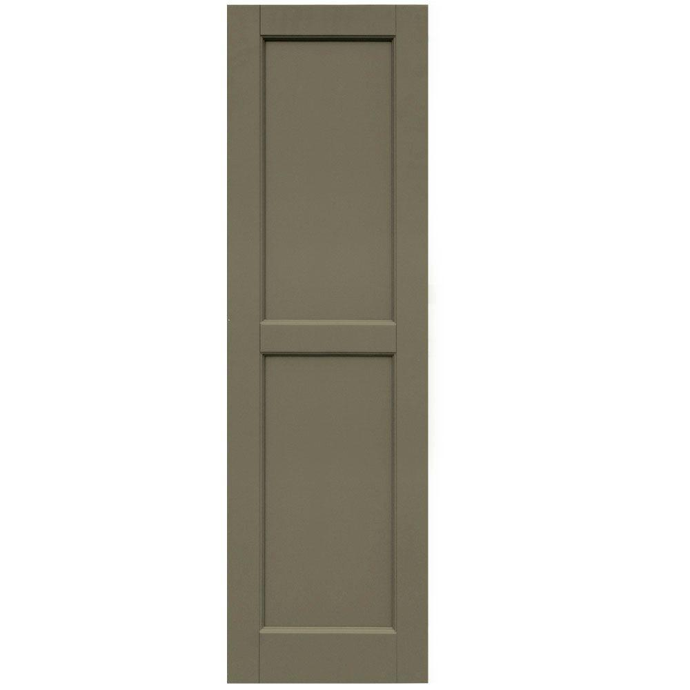 Winworks Wood Composite 15 in. x 51 in. Contemporary Flat Panel Shutters Pair #660 Weathered Shingle