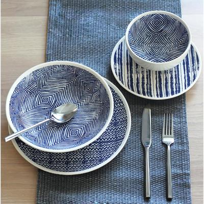 Dalton 16-Piece Blue Dinnerware Set