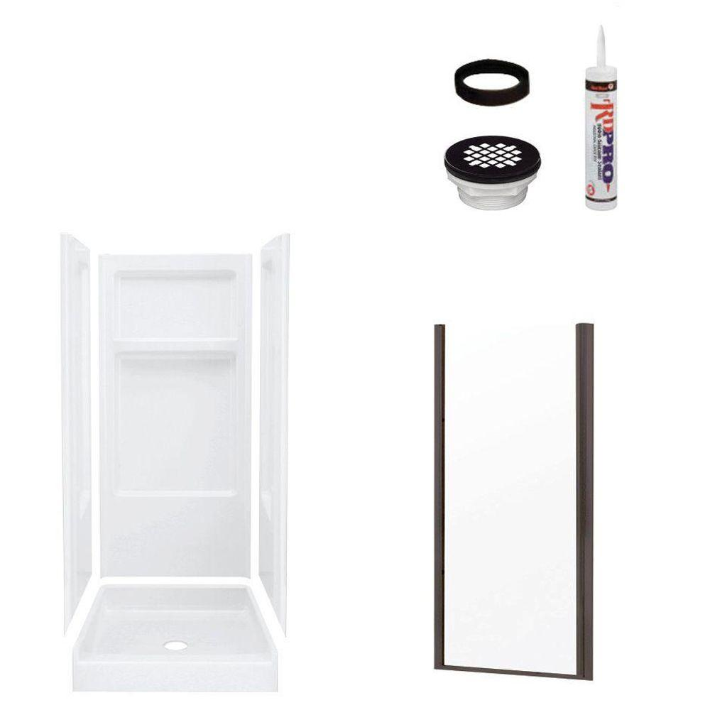 STERLING Advantage 34 in. x 32 in. x 72 in. Shower Kit with Shower Door in White/Oil Rubbed Bronze-DISCONTINUED