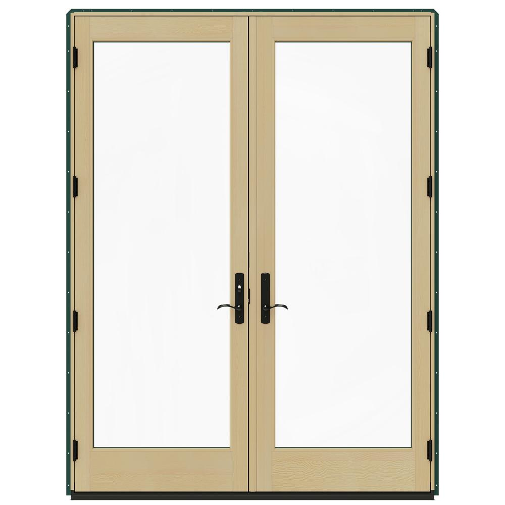 Jeld wen 72 in x 96 in w 4500 hartford green prehung for Green french doors