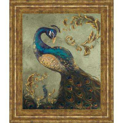 """22 in. x 26 in. """"Peacock on Sage II"""" by Tiffany Hakimipour Framed Printed Wall Art"""