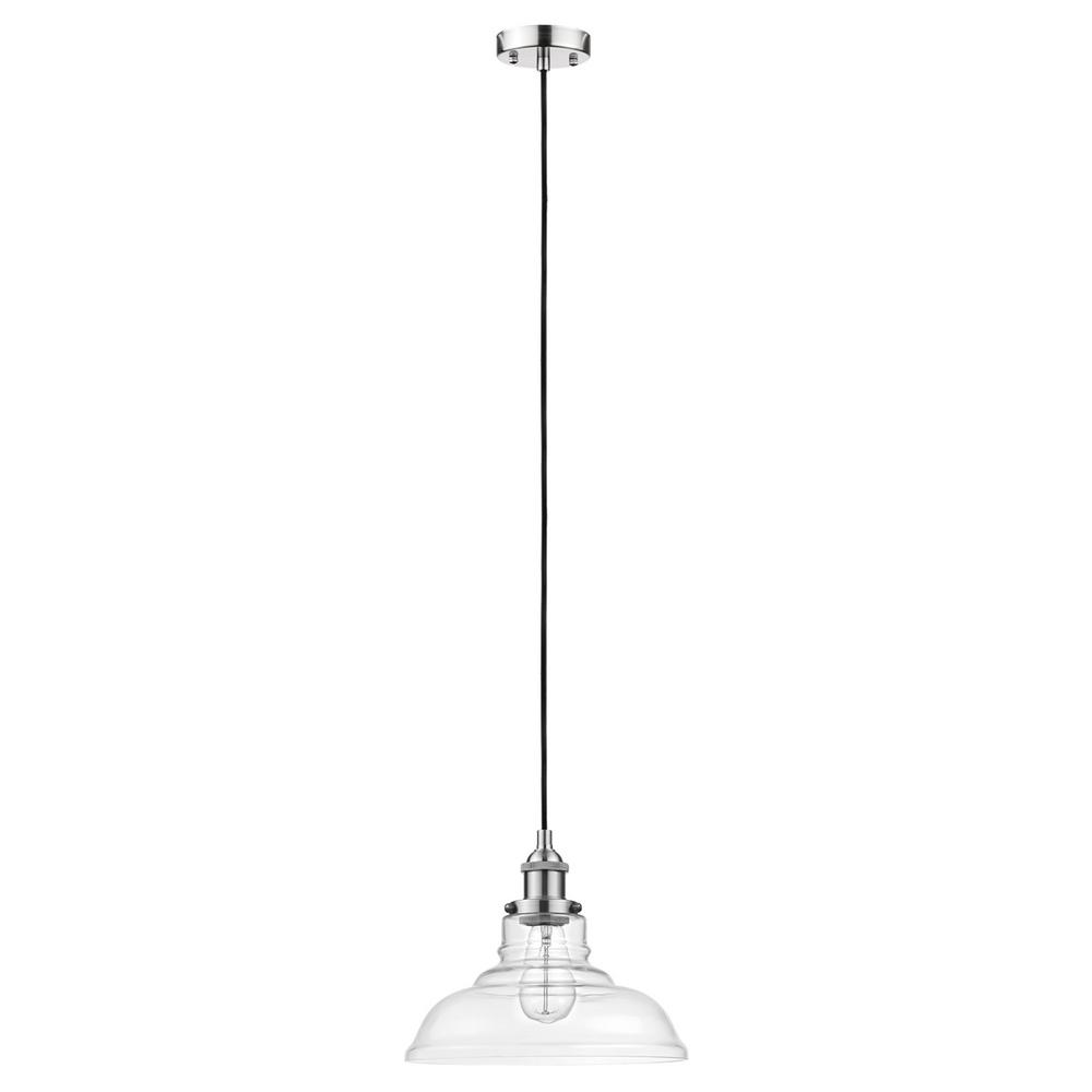 Home Decorators Collection 1-Light Brushed Steel Pendant with Clear Glass Shade