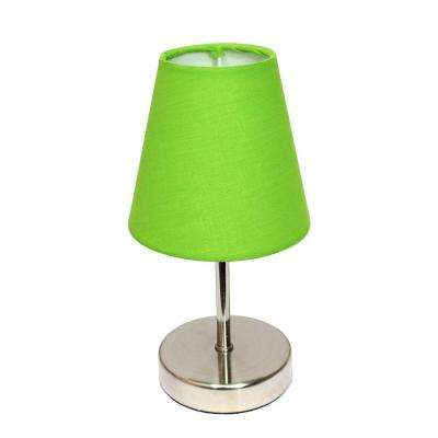Green lamps lighting the home depot sand nickel mini basic table lamp with green fabric shade aloadofball Images