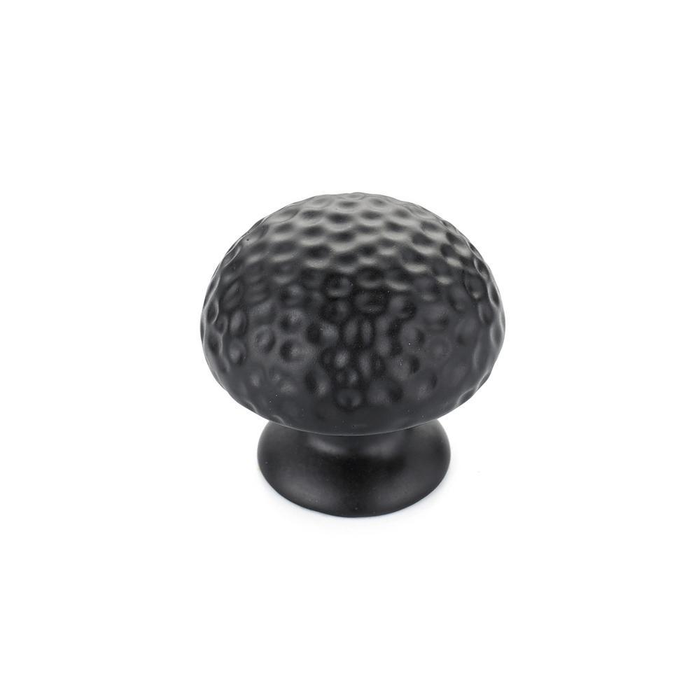 1-5/16 in. (33 mm) Matte Black Traditional Metal Cabinet Knob