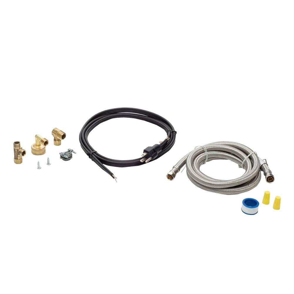 Smart Choice 6 ft. Stainless Steel Dishwasher Installation Kit with Straight Cord Smart Choice Dishwasher Installation Kit provides the parts needed to install an under counter dishwasher. Kit includes 6 ft. long braided stainless steel dishwasher water line, 6 ft. 120-Volt 15-Amp power cord, 3/4 in. garden hose elbow, 3/8 in. water line elbow, 3/8 in. water line tee, Romex connector, Teflon pipe thread sealant and hardware