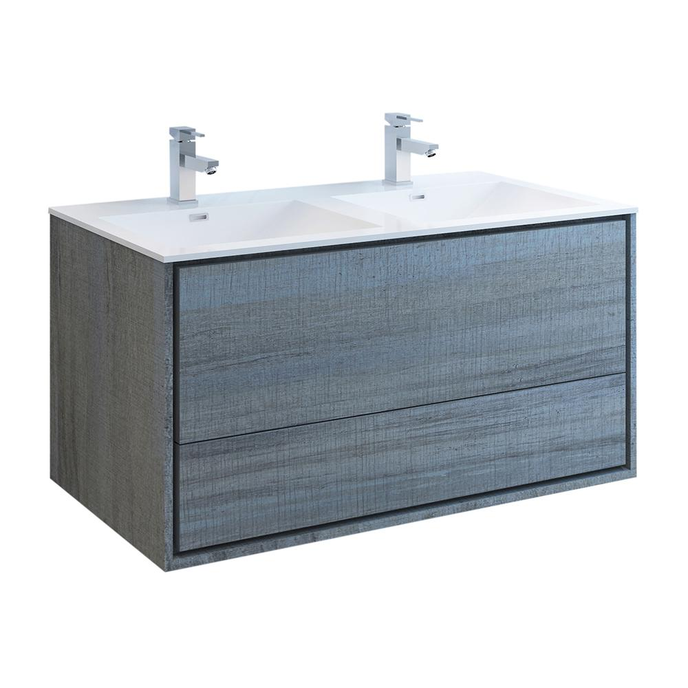 Fresca Catania 48 in. Modern Double Wall Hung Bath Vanity in Ocean Gray with Vanity Top in White with White Basins