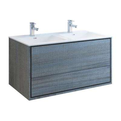 Catania 48 in. Modern Double Wall Hung Bath Vanity in Ocean Gray with Vanity Top in White with White Basins