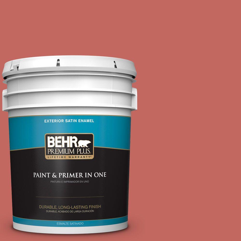 BEHR Premium Plus 5-gal. #HDC-CL-10 Tapestry Red Satin Enamel Exterior Paint