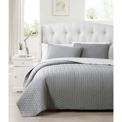 Mirai 3-Piece Grey-Silver Full/Queen Reversible Coverlet Set