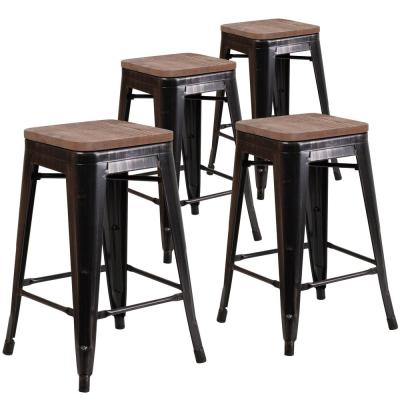 24 in. Black-Antique Gold Bar Stool (4-Pack)