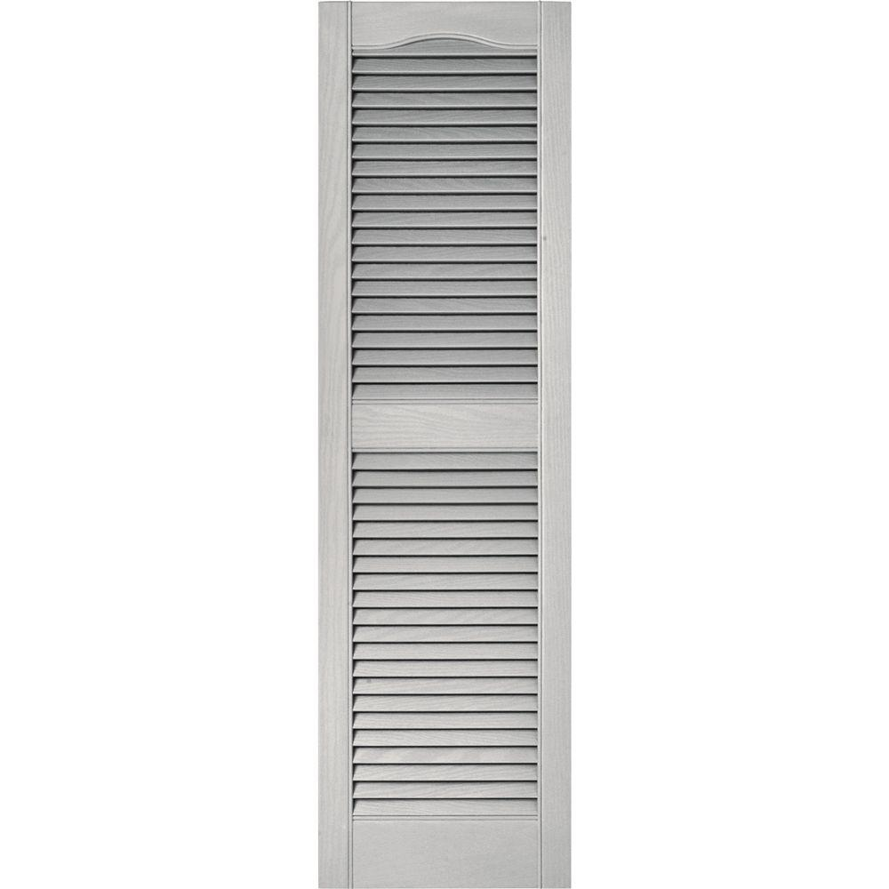 Builders Edge 15 in. x 52 in. Louvered Vinyl Exterior Shutters Pair ...