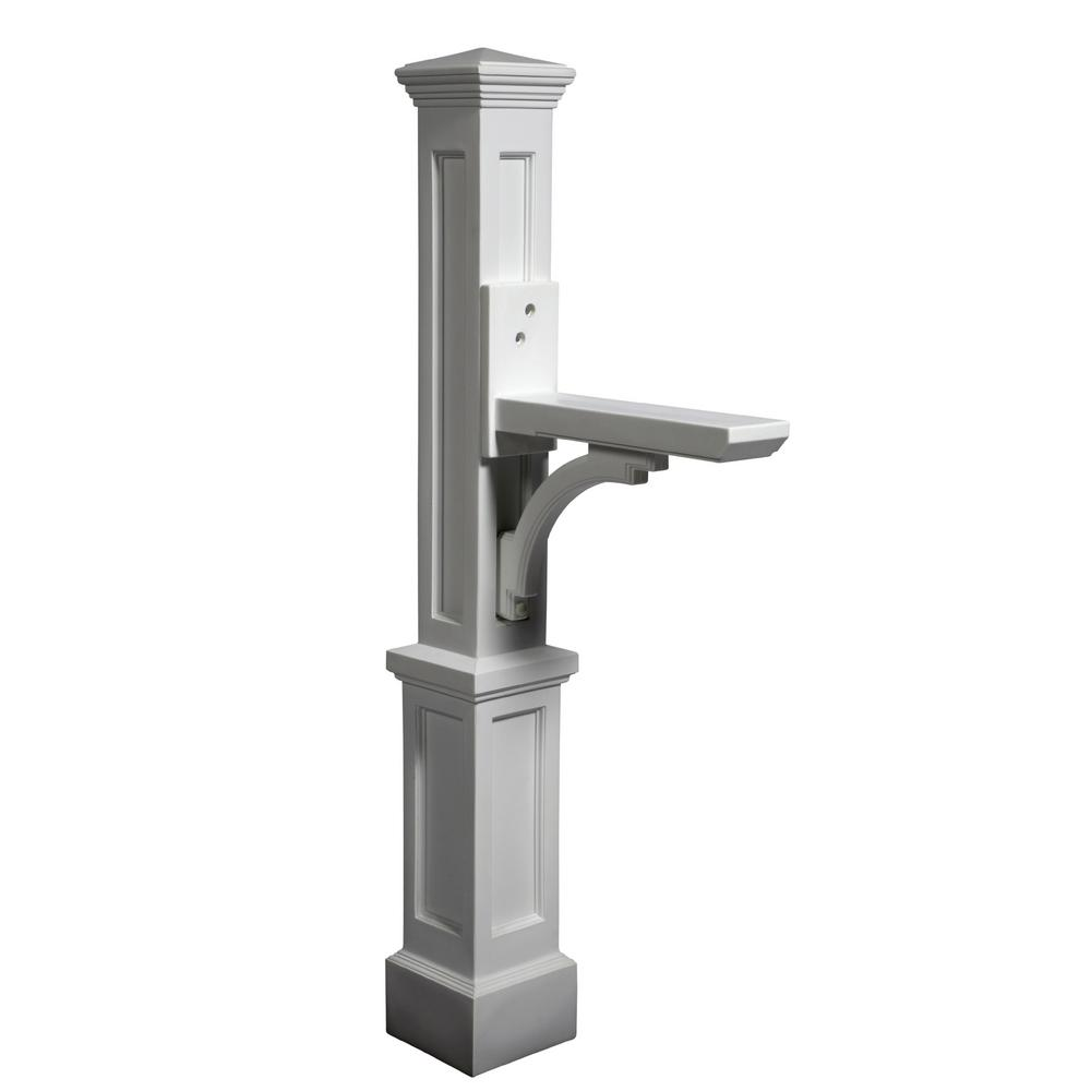 Newport Plus Plastic Mailbox Post, White