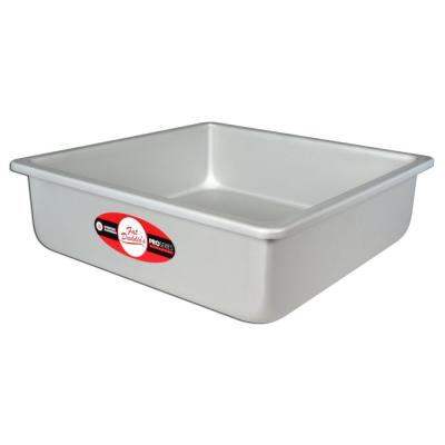 Anodized 14 in. x 14 in. x 3 in. Aluminum Square Cake Pan Solid Bottom