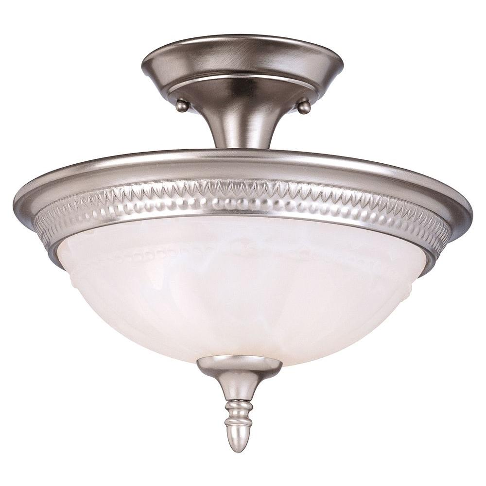 semi flush ceiling lights illumine 3 light pewter semi flush mount with white faux 29046