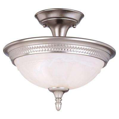2-Light Pewter Semi Flush Mount with White Marble Glass
