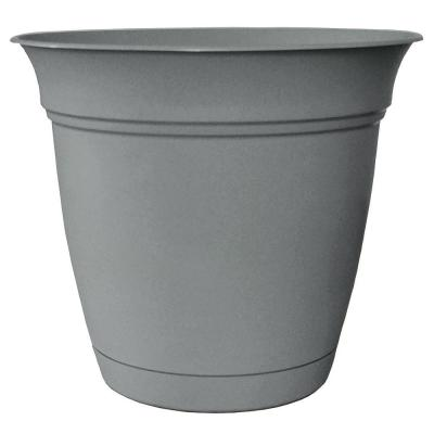 Belle 20 in. Dia Stormy Gray Plastic Planter with Attached Saucer