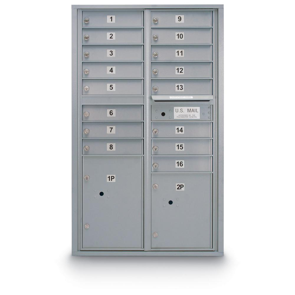 16-Door Standard 4-Compartment Mailbox with 2 Parcel Lockers in Silver