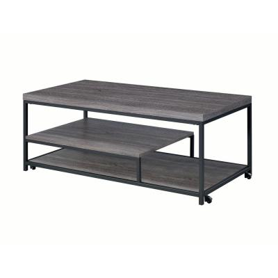 Aspen 3-Piece 47 in. Gray Large Rectangle Wood Coffee Table Set with Casters