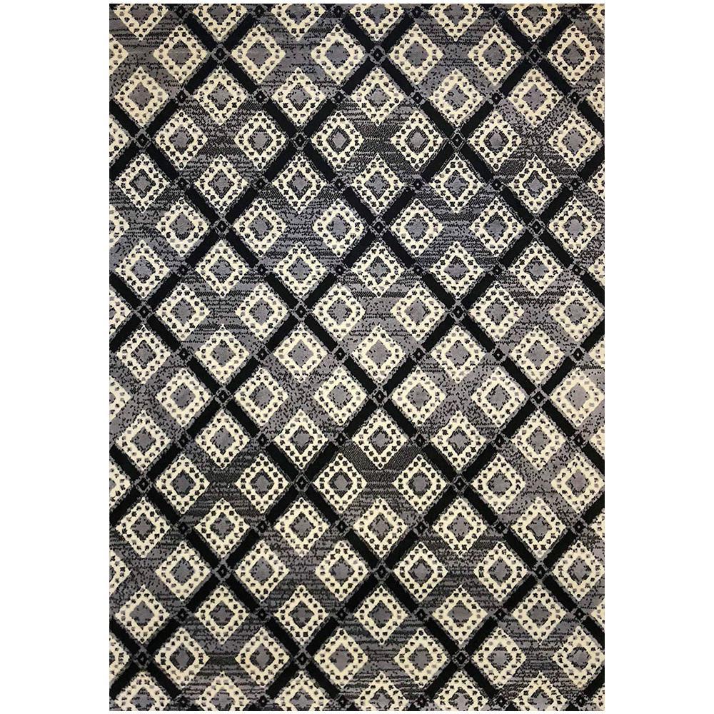 Pyramid Decor Grey/Blue 5 ft. x 7 ft. Modern Geometric Pattern Area Rug
