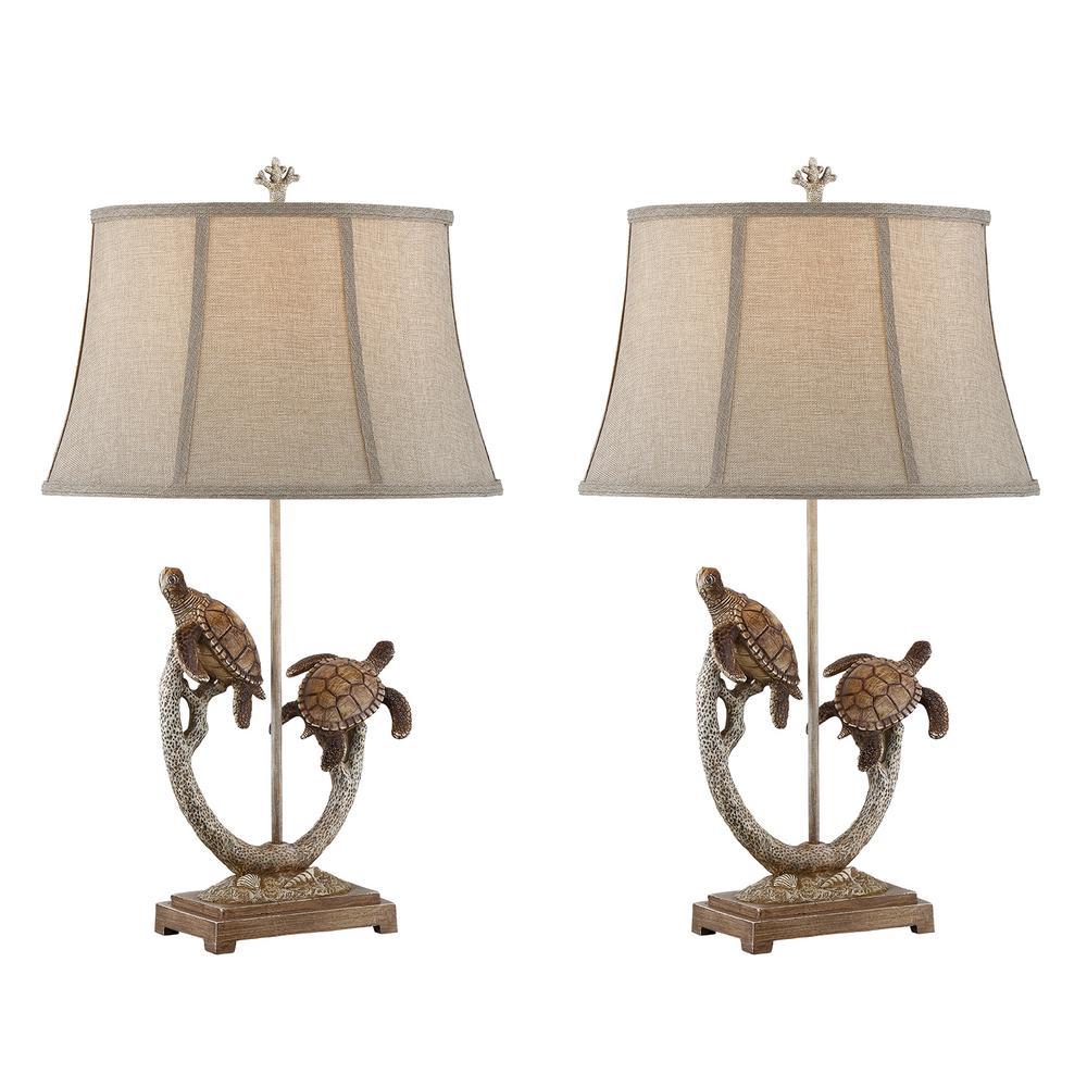 31 in. Brown Indoor Table Lamp Set