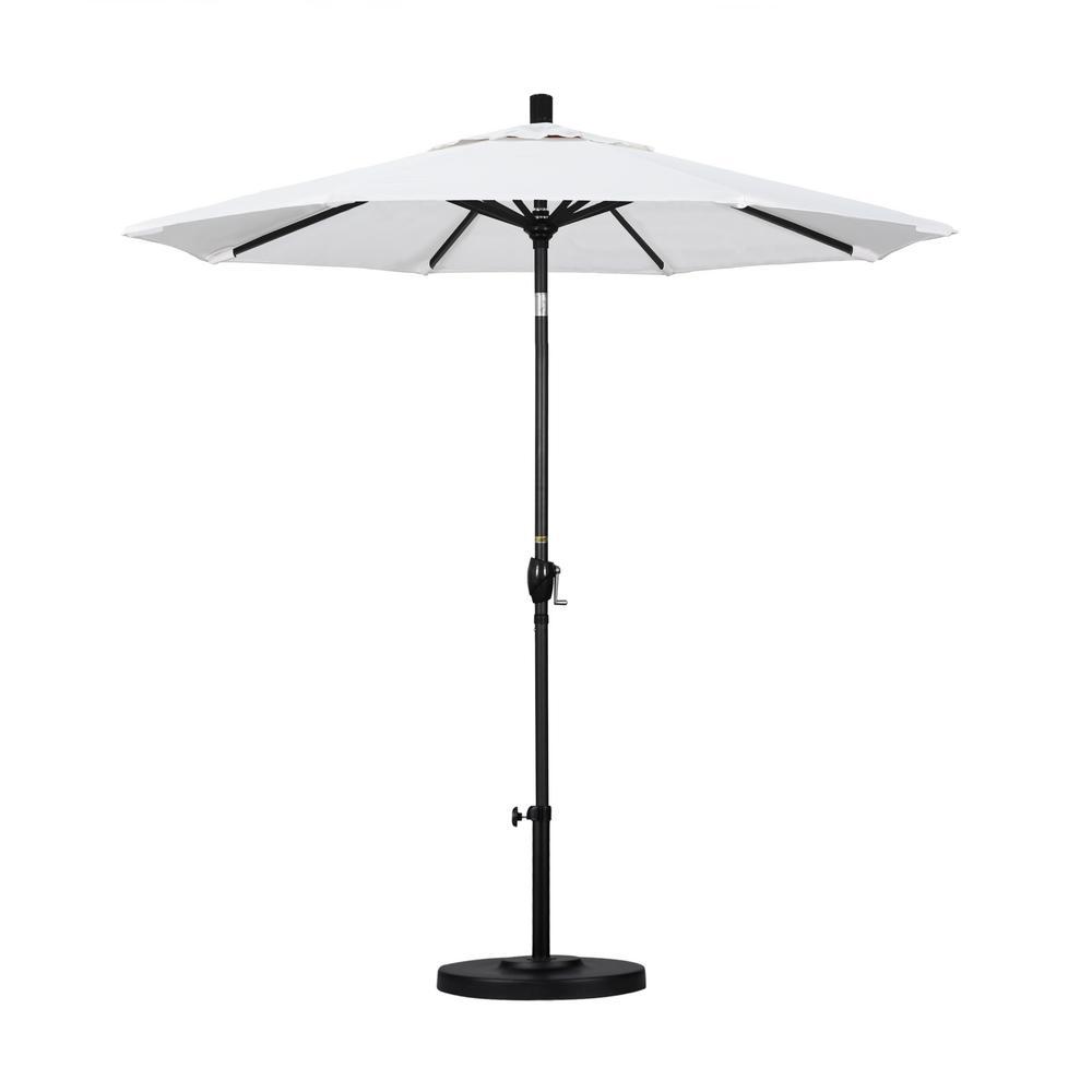 California Umbrella 7.5 ft. Black Aluminum Pole Market Aluminum Ribs Push Tilt Crank Lift Patio Umbrella in Natural Sunbrella