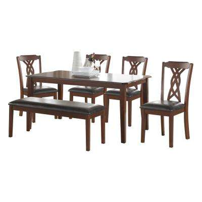 Ingeberg 6-Piece Black Leatherette and Espresso Dining Set